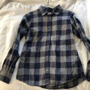 J Crew Perfect Shirt plaid small gray blue button